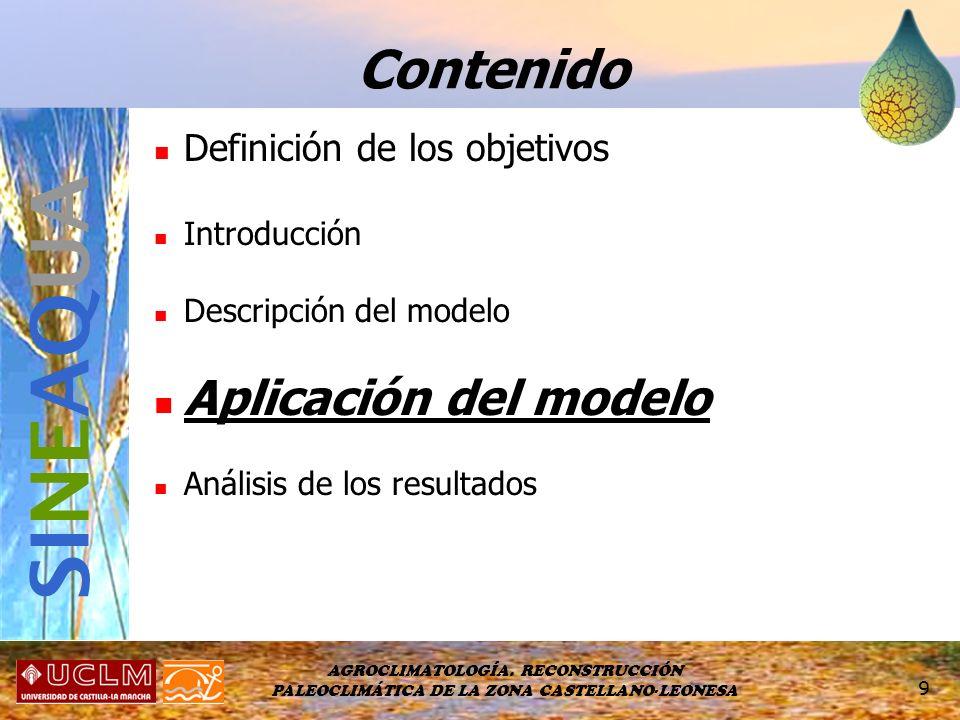 SINEAQUA Contenido Aplicación del modelo Definición de los objetivos