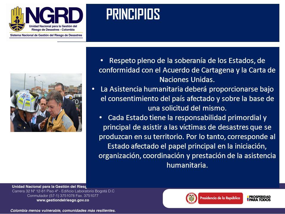 PRINCIPIOS Respeto pleno de la soberanía de los Estados, de conformidad con el Acuerdo de Cartagena y la Carta de Naciones Unidas.