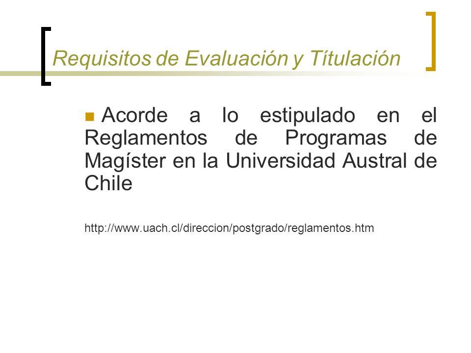 Requisitos de Evaluación y Títulación