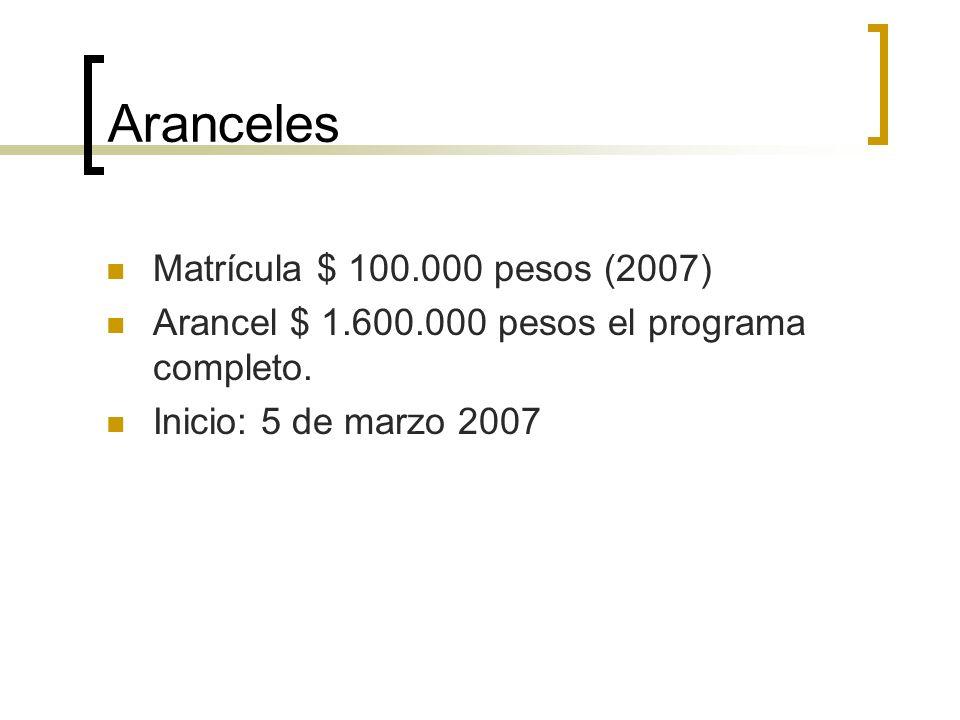 Aranceles Matrícula $ 100.000 pesos (2007)