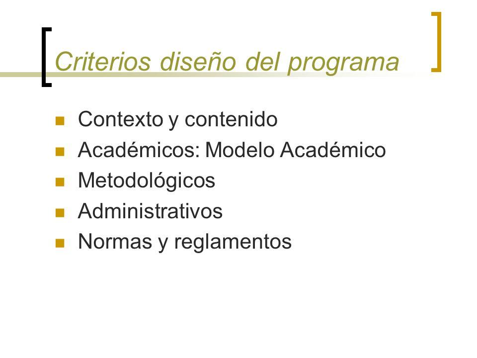 Criterios diseño del programa