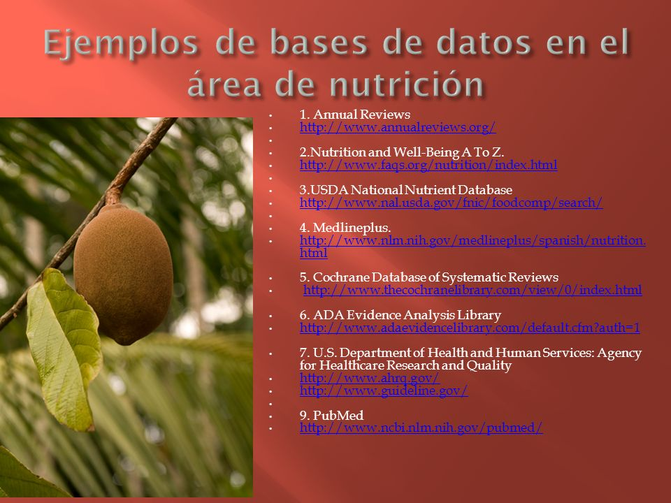 Ejemplos de bases de datos en el área de nutrición