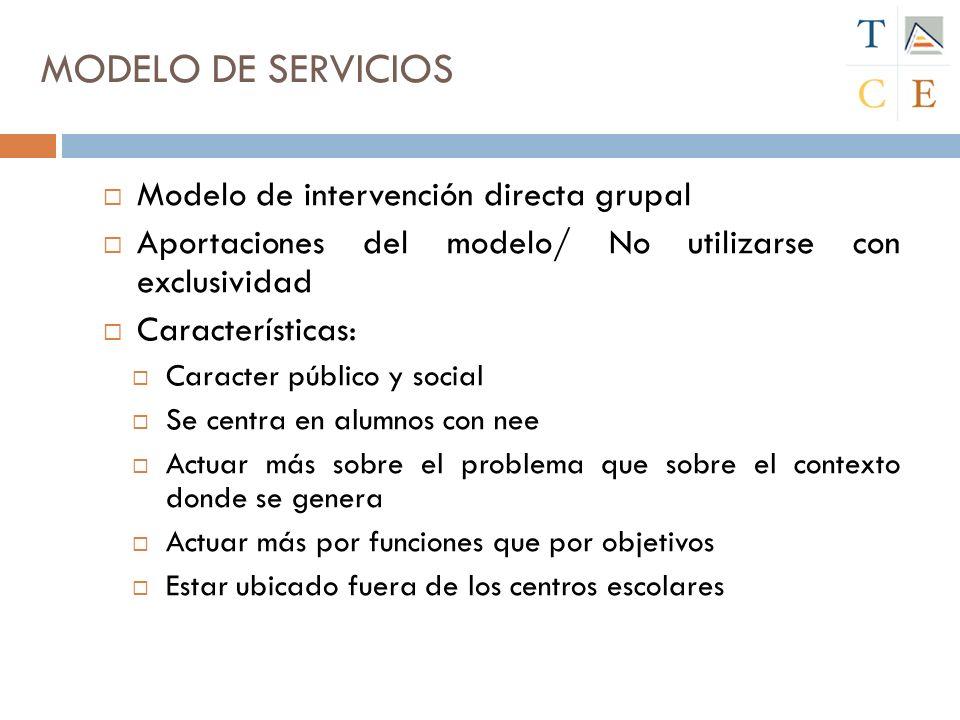 MODELO DE SERVICIOS Modelo de intervención directa grupal