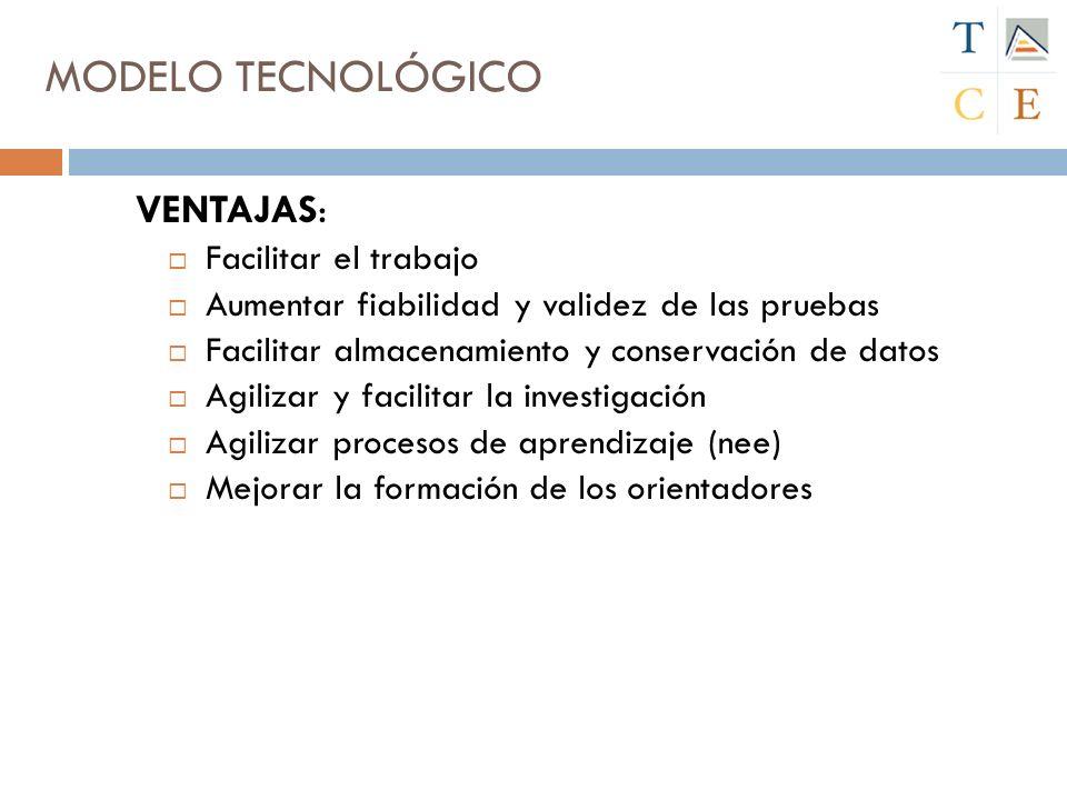 MODELO TECNOLÓGICO VENTAJAS: Facilitar el trabajo