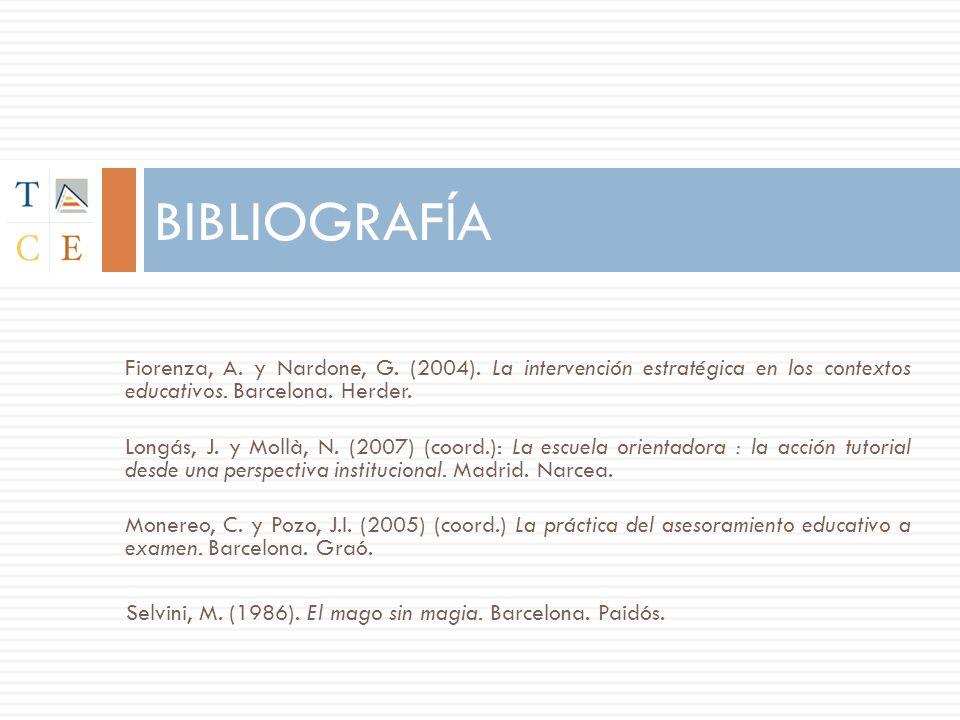 BIBLIOGRAFÍA Fiorenza, A. y Nardone, G. (2004). La intervención estratégica en los contextos educativos. Barcelona. Herder.