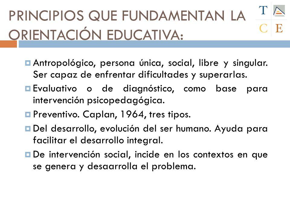 PRINCIPIOS QUE FUNDAMENTAN LA ORIENTACIÓN EDUCATIVA: