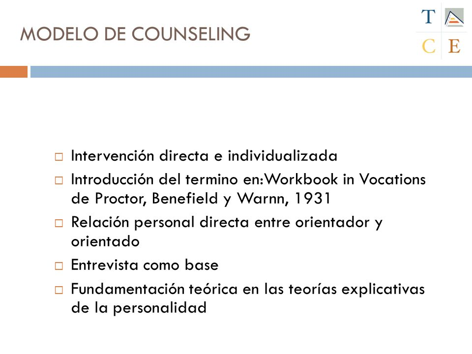 MODELO DE COUNSELING Intervención directa e individualizada