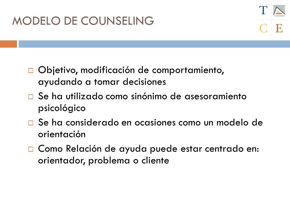 MODELO DE COUNSELING Objetivo, modificación de comportamiento, ayudando a tomar decisiones.