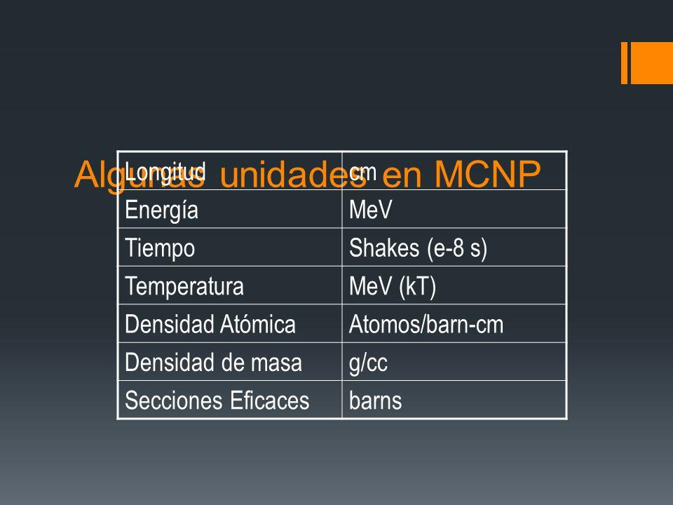 Algunas unidades en MCNP