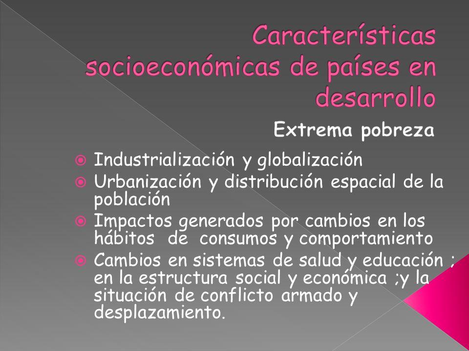 Características socioeconómicas de países en desarrollo