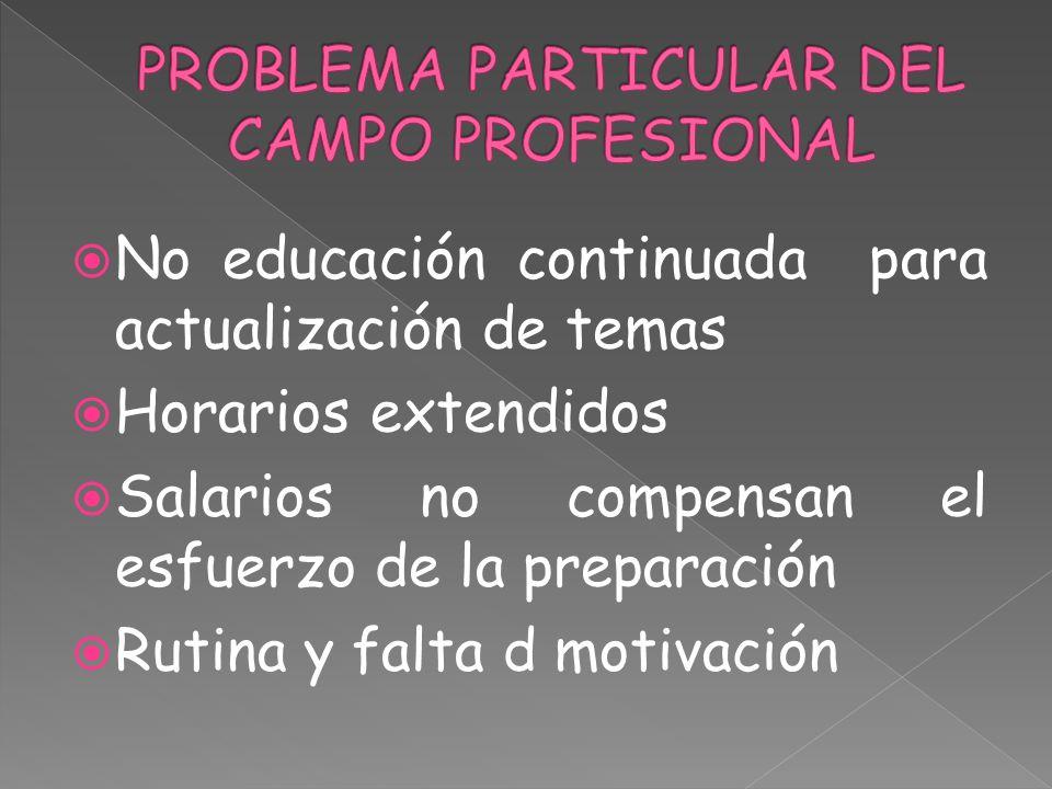 PROBLEMA PARTICULAR DEL CAMPO PROFESIONAL