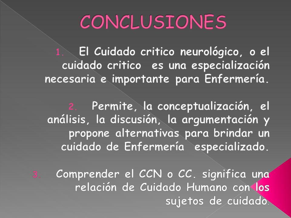 CONCLUSIONES El Cuidado critico neurológico, o el cuidado critico es una especialización necesaria e importante para Enfermería.