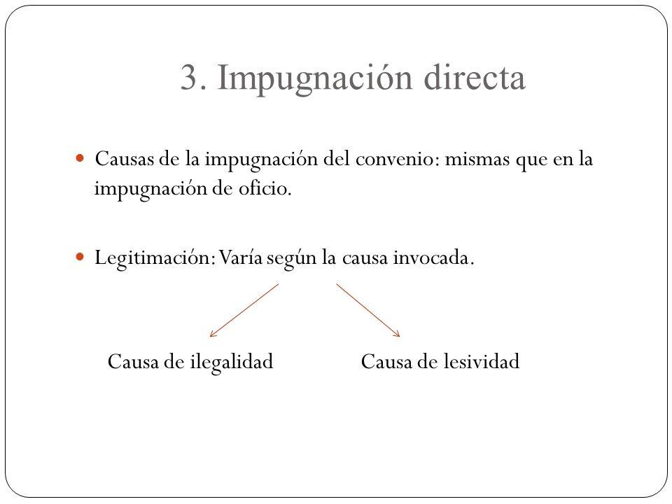 3. Impugnación directa Causas de la impugnación del convenio: mismas que en la impugnación de oficio.