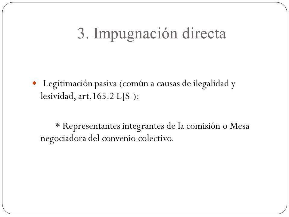 3. Impugnación directa Legitimación pasiva (común a causas de ilegalidad y lesividad, art.165.2 LJS-):