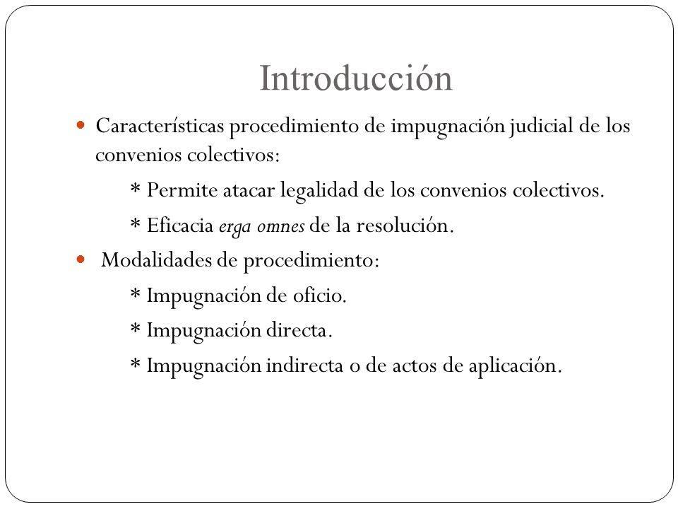 Introducción Características procedimiento de impugnación judicial de los convenios colectivos: