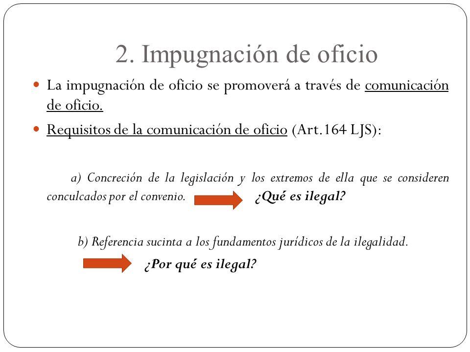 2. Impugnación de oficio La impugnación de oficio se promoverá a través de comunicación de oficio.