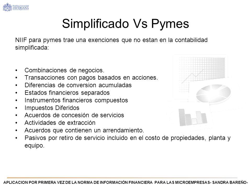 Simplificado Vs PymesNIIF para pymes trae una exenciones que no estan en la contabilidad simplificada: