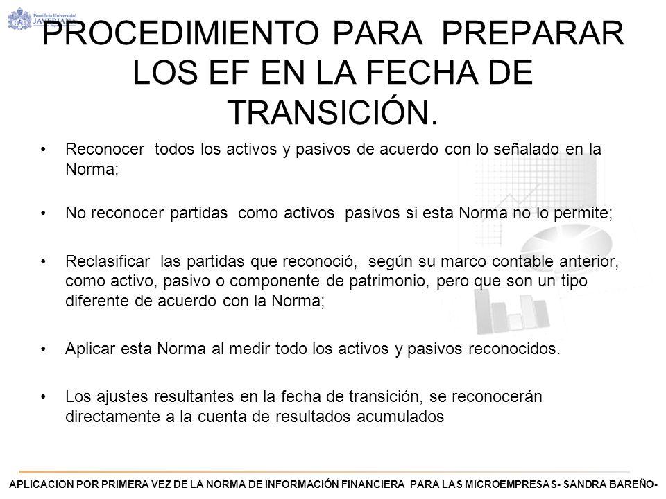 PROCEDIMIENTO PARA PREPARAR LOS EF EN LA FECHA DE TRANSICIÓN.