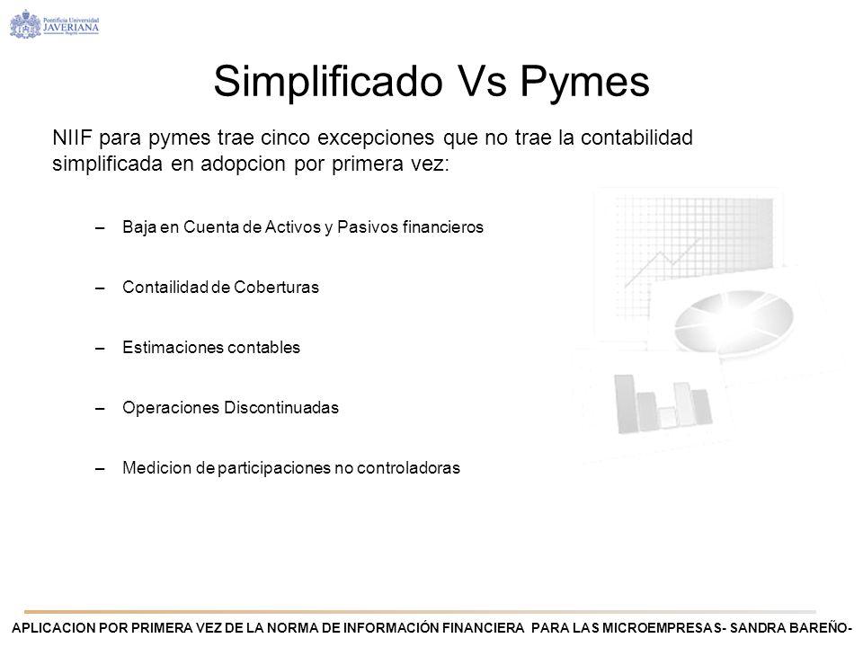 Simplificado Vs PymesNIIF para pymes trae cinco excepciones que no trae la contabilidad simplificada en adopcion por primera vez: