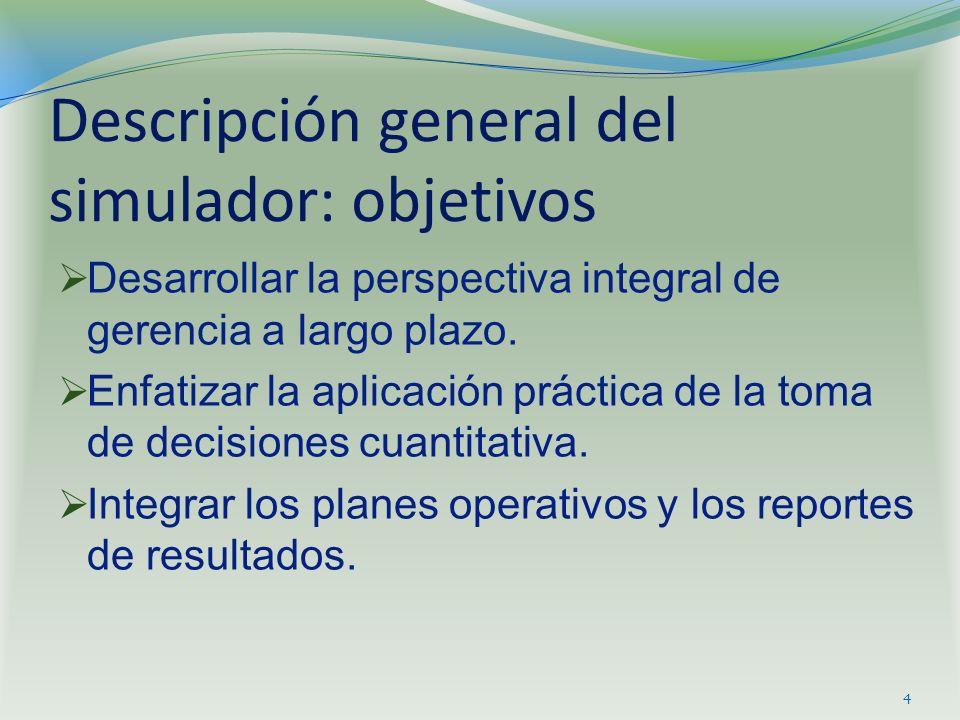 Descripción general del simulador: objetivos