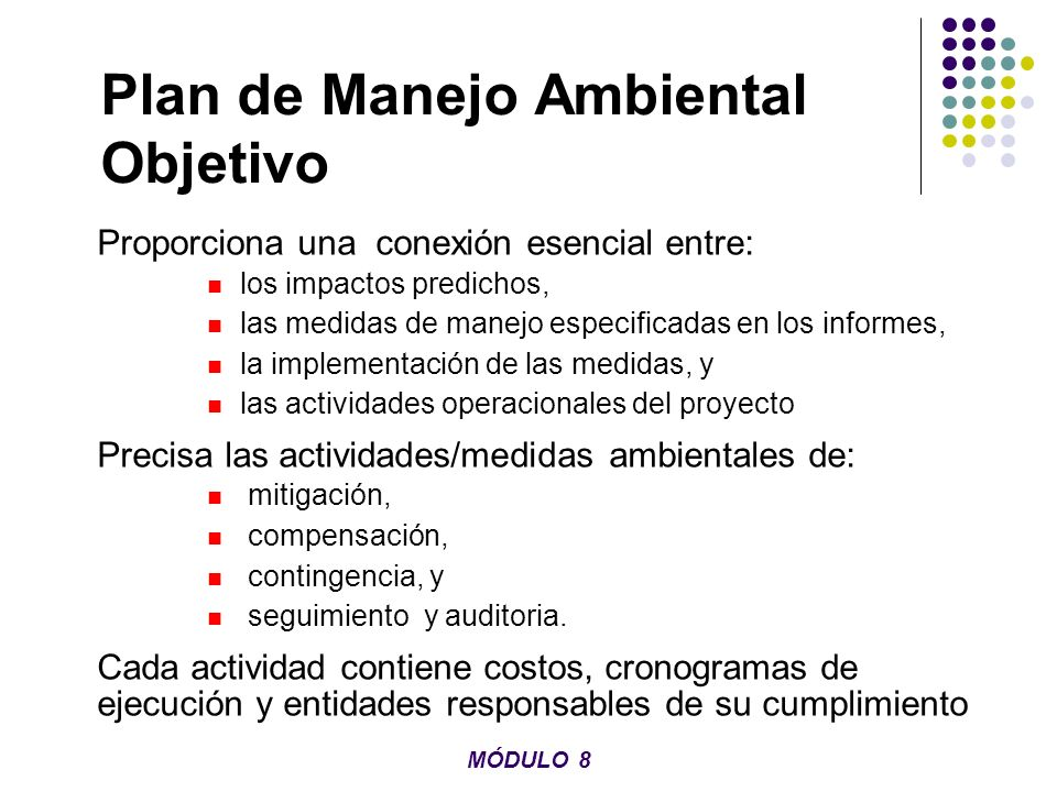Plan de Manejo Ambiental Objetivo
