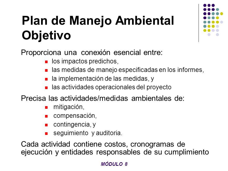 Plan de Manejo Ambiental Objetivo