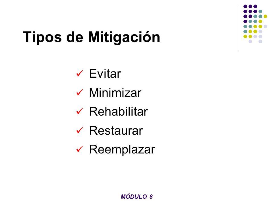 Tipos de Mitigación Evitar Minimizar Rehabilitar Restaurar Reemplazar