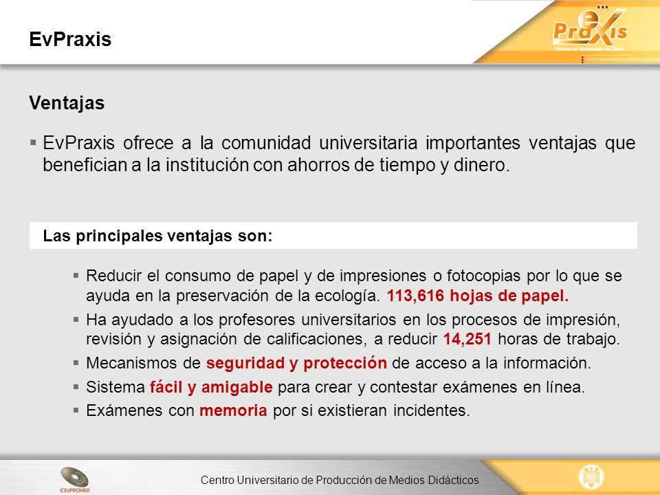 EvPraxis Ventajas. EvPraxis ofrece a la comunidad universitaria importantes ventajas que benefician a la institución con ahorros de tiempo y dinero.