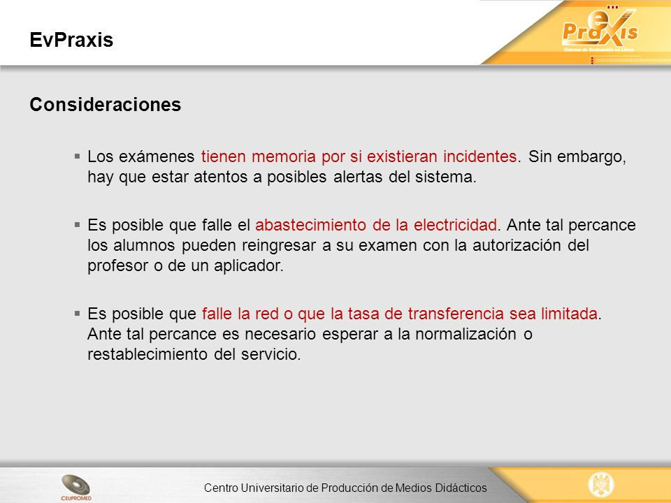 EvPraxis Consideraciones