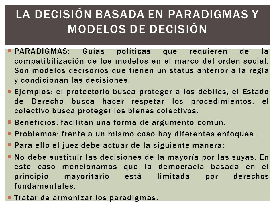 LA DECISIÓN BASADA EN PARADIGMAS Y MODELOS DE DECISIÓN