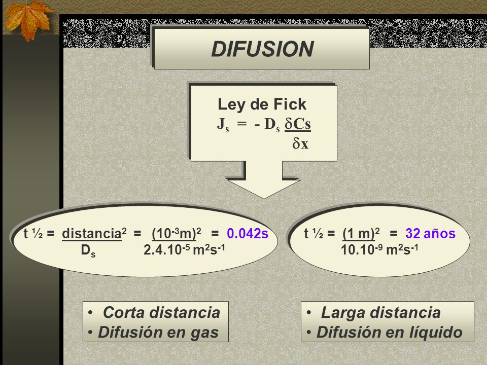DIFUSION Ley de Fick Js = - Ds Cs x Corta distancia Difusión en gas