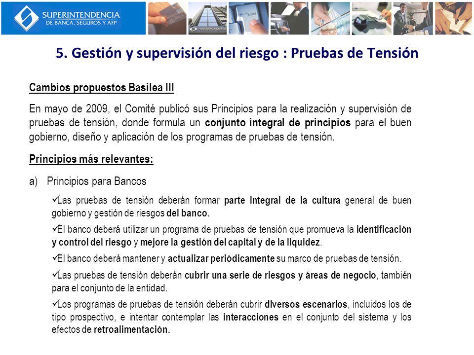 5. Gestión y supervisión del riesgo : Pruebas de Tensión