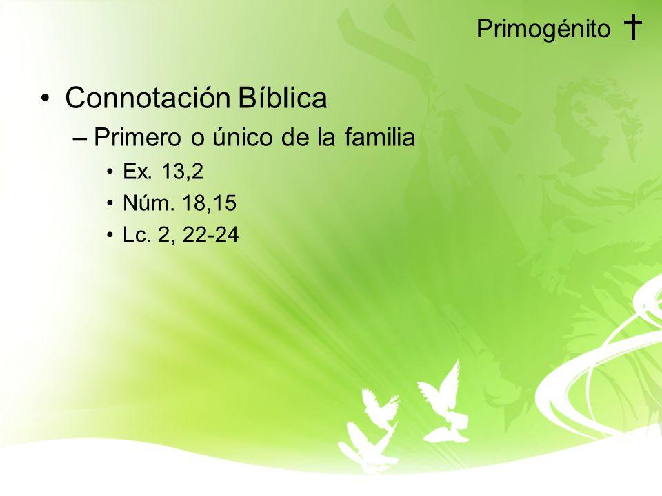 Connotación Bíblica Primogénito Primero o único de la familia Ex. 13,2