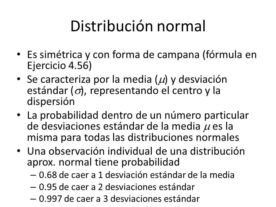 Distribución normal Es simétrica y con forma de campana (fórmula en Ejercicio 4.56)