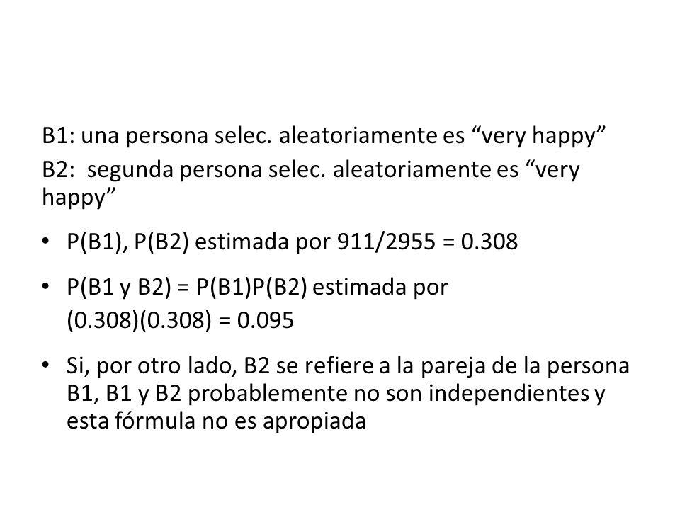 B1: una persona selec. aleatoriamente es very happy