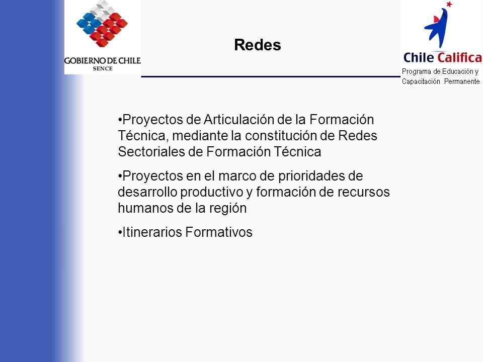 Redes •Proyectos de Articulación de la Formación Técnica, mediante la constitución de Redes Sectoriales de Formación Técnica.