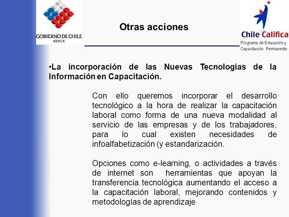 Otras acciones La incorporación de las Nuevas Tecnologías de la Información en Capacitación.