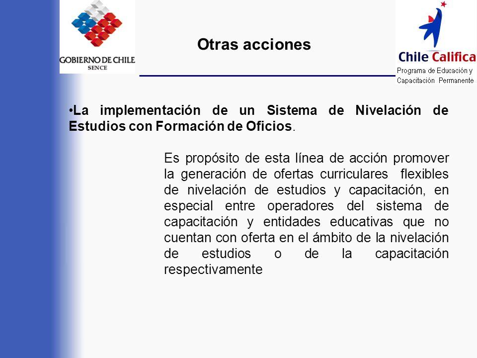 Otras acciones La implementación de un Sistema de Nivelación de Estudios con Formación de Oficios.