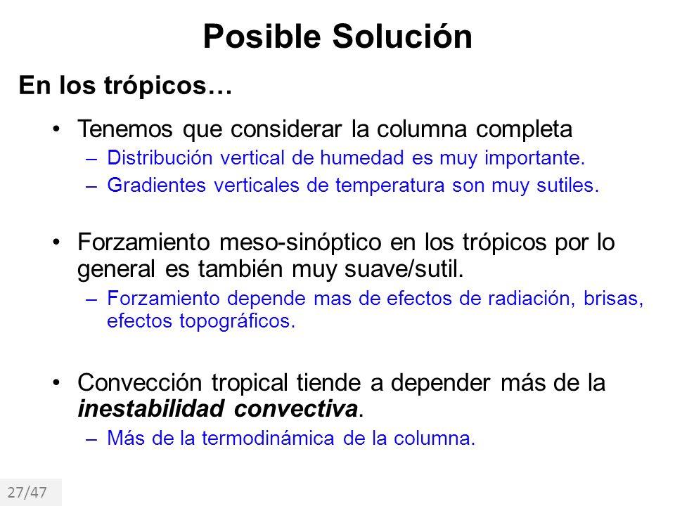 Posible Solución En los trópicos…