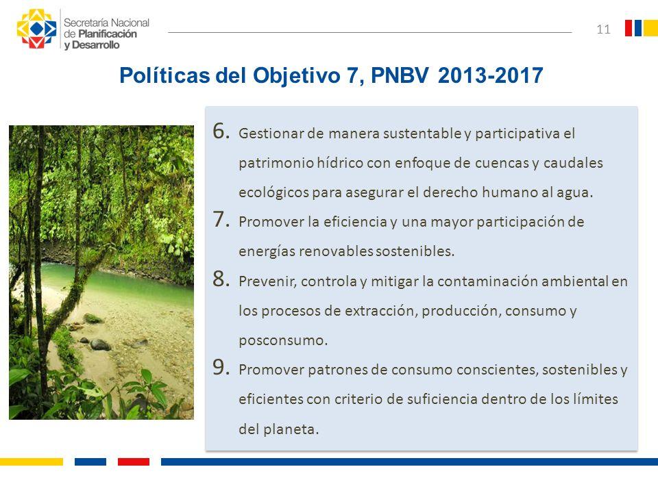 Políticas del Objetivo 7, PNBV 2013-2017