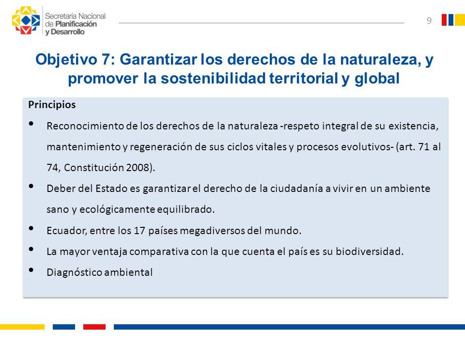 Objetivo 7: Garantizar los derechos de la naturaleza, y promover la sostenibilidad territorial y global
