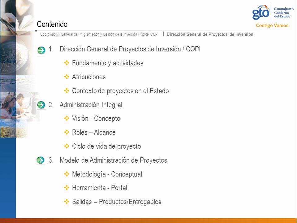 Contenido Dirección General de Proyectos de Inversión / COPI