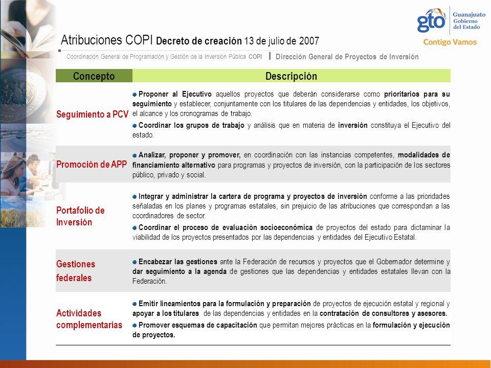 Atribuciones COPI Decreto de creación 13 de julio de 2007