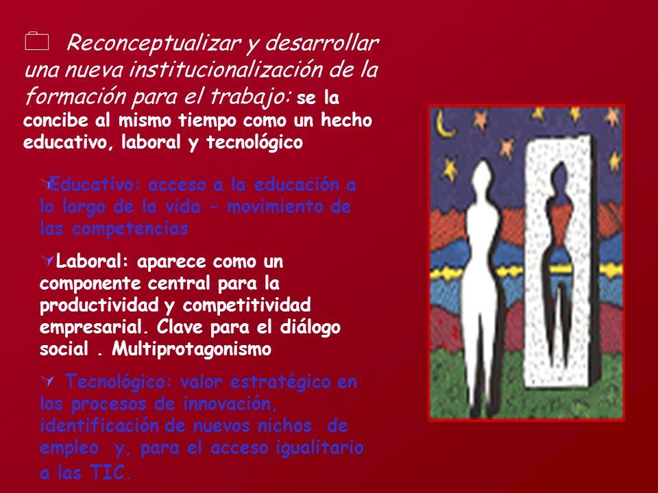 Reconceptualizar y desarrollar una nueva institucionalización de la formación para el trabajo: se la concibe al mismo tiempo como un hecho educativo, laboral y tecnológico