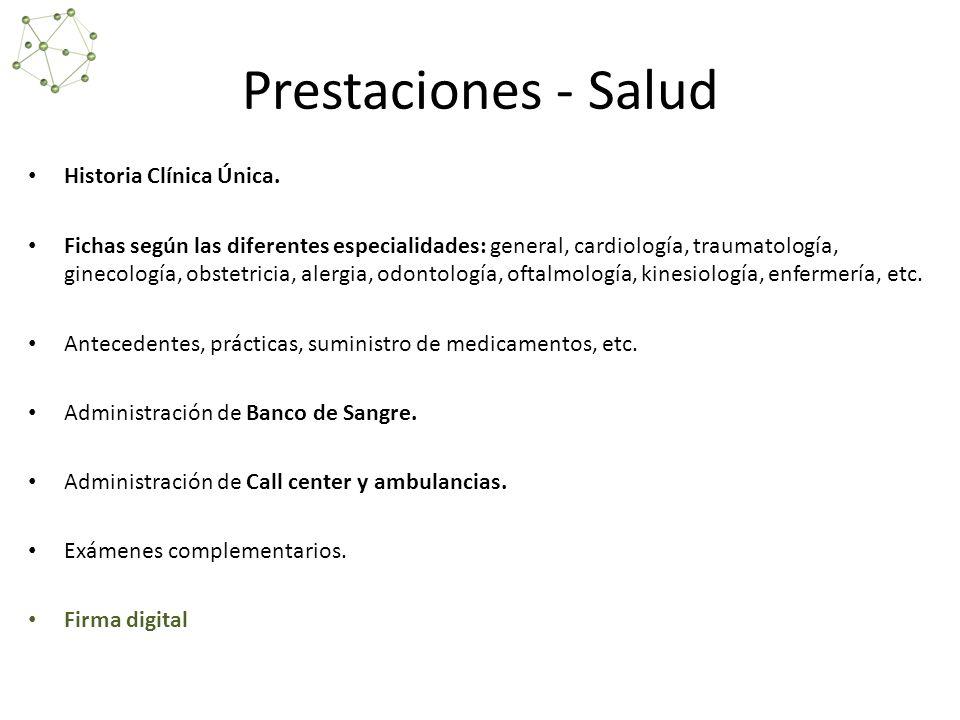 Prestaciones - Salud Historia Clínica Única.
