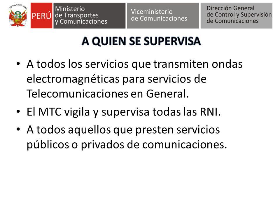 A QUIEN SE SUPERVISA A todos los servicios que transmiten ondas electromagnéticas para servicios de Telecomunicaciones en General.