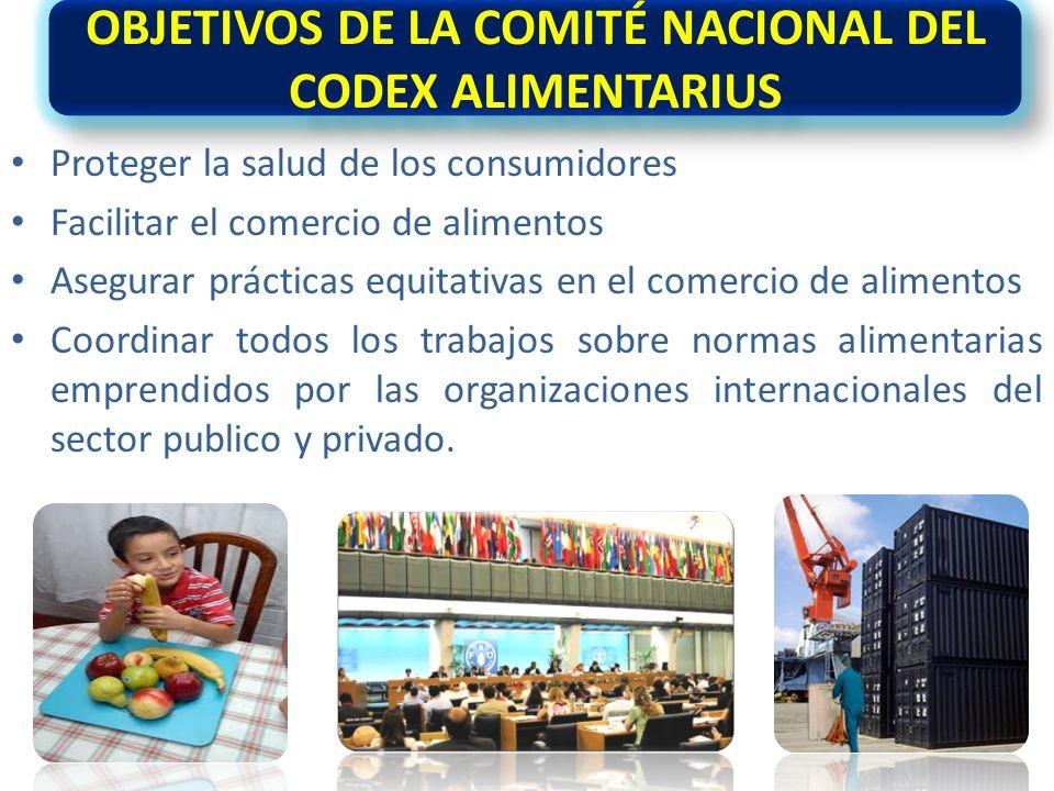 OBJETIVOS DE LA COMITÉ NACIONAL DEL CODEX ALIMENTARIUS