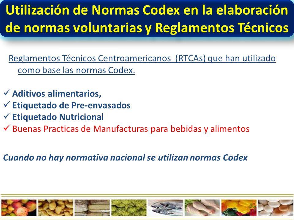 Utilización de Normas Codex en la elaboración de normas voluntarias y Reglamentos Técnicos