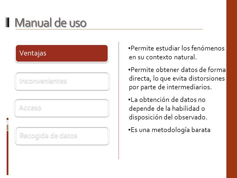 Manual de uso Ventajas Inconvenientes Acceso Recogida de datos