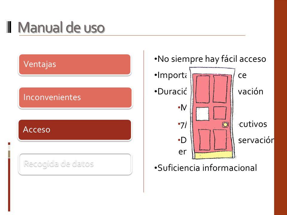 Manual de uso No siempre hay fácil acceso Importancia del enlace